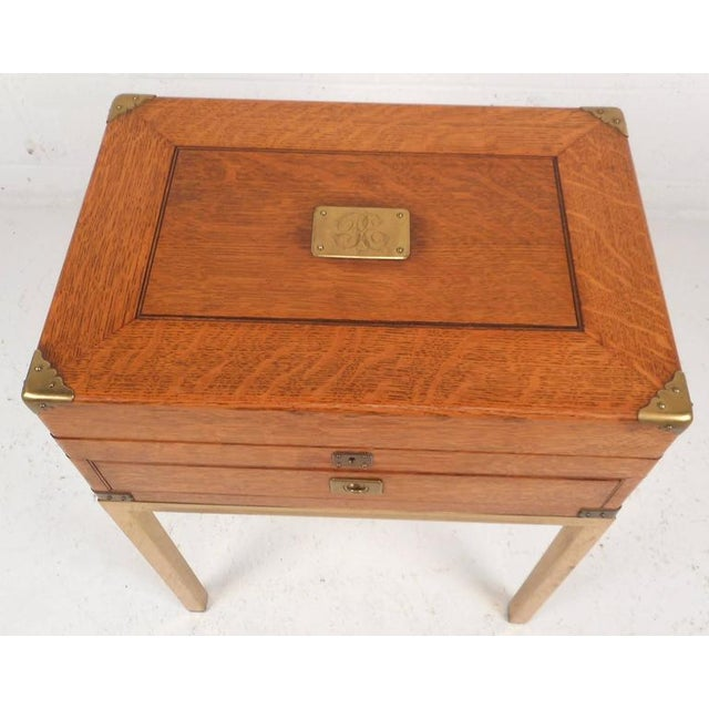 Mid-Century Modern Single Drawer Campaign Style Stand For Sale - Image 4 of 11