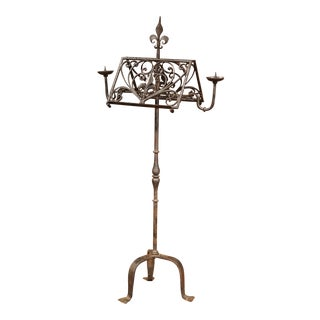 19th Century French Black Wrought Iron Lectern with Hand Forged Fleurs-de-Lys