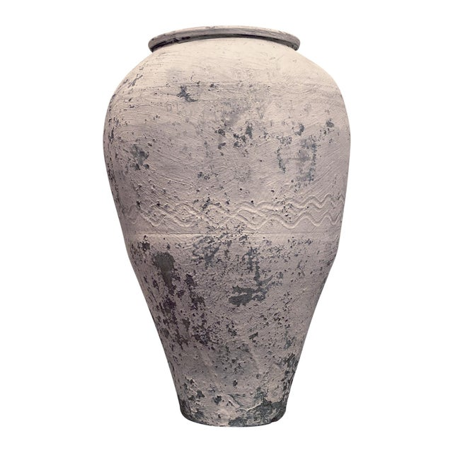 White Large Antique Whitewashed Terra Cotta Olive Pot For Sale - Image 8 of 8