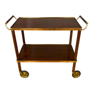 Dark Wood and Copper Color Metal 1940s Bar or Serving Cart For Sale
