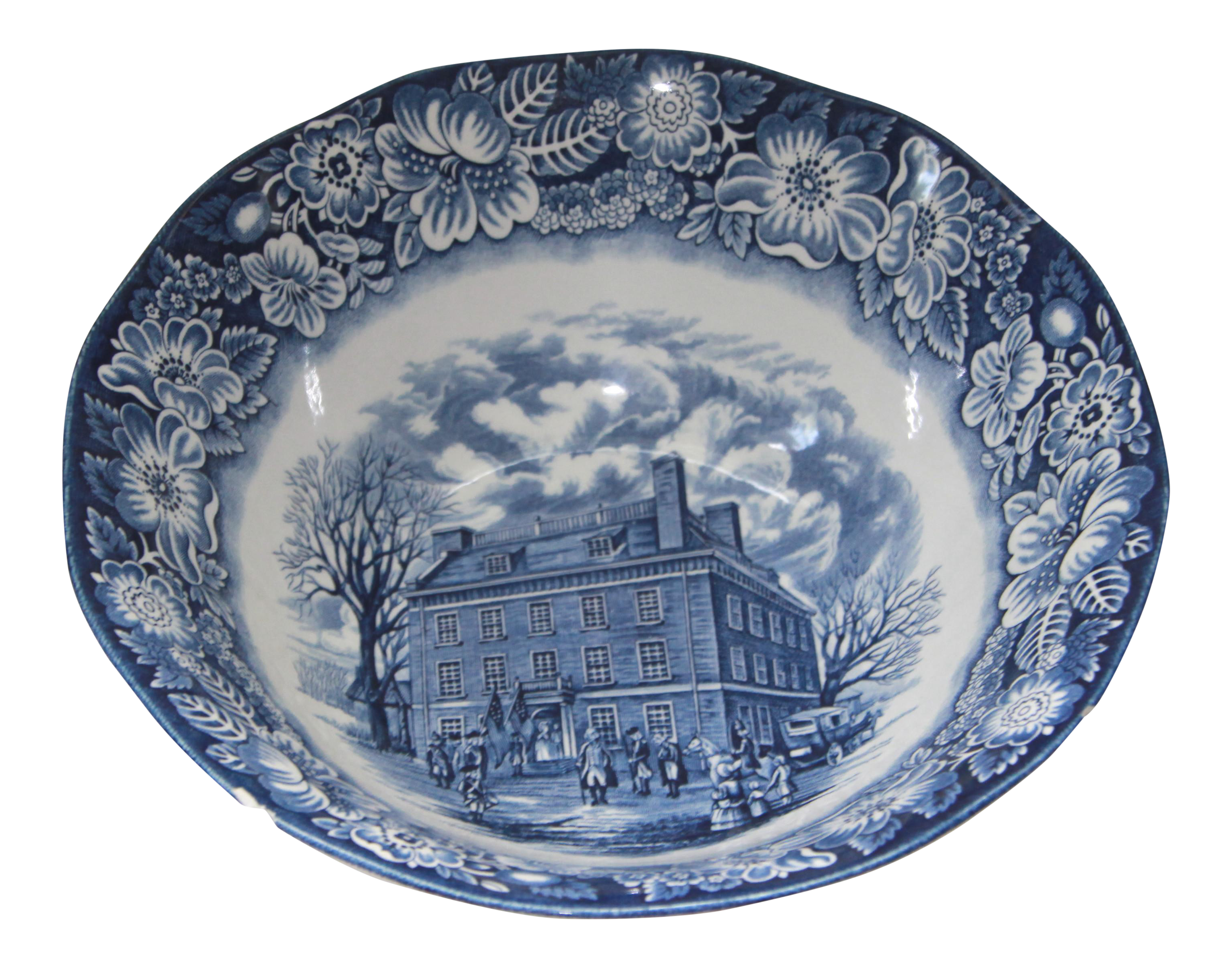 Staffordshire Liberty Blue Transfer Ware Serving Bowl  sc 1 st  Chairish : liberty blue dinnerware - pezcame.com