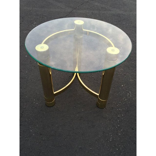 SOLD-1980s Hollywood Regency Brass & Glass Side Table For Sale In New York - Image 6 of 10