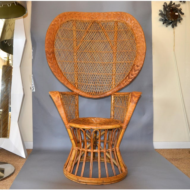 Vintage Boho Chic Handcrafted Wicker, Rattan and Reed Peacock High Back Chair For Sale - Image 13 of 13