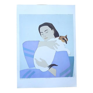 """Vintage Lithograph-""""Woman and White Cat""""-After Will Barnet For Sale"""