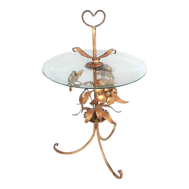 Italian Tole Glass Top Table For Sale