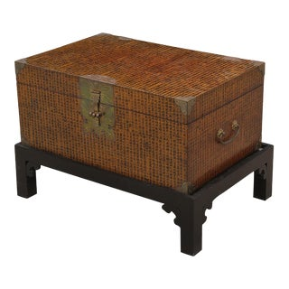 1960s Vintage Wooden Chinoiserie Chest With Stand For Sale