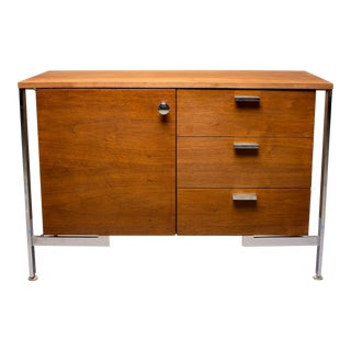 Small Mid-Century Walnut and Chrome Cabinet