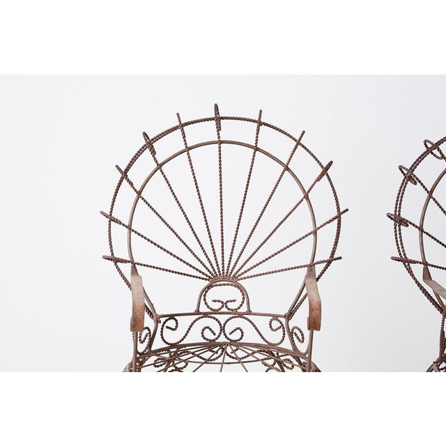 Mid 20th Century Pair of Salterini Iron Peacock Salesman Sample Chairs For Sale - Image 5 of 13