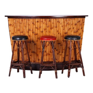 Bamboo Demilune Bar and Three Stools - Set of 4 For Sale