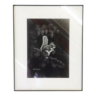 Ken Smith Original Black & White Squirrel Print For Sale