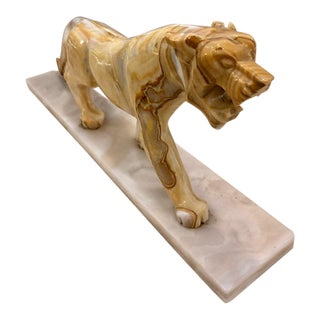 1980s Vintage Onyx Tiger on Marble Plate Figurine For Sale