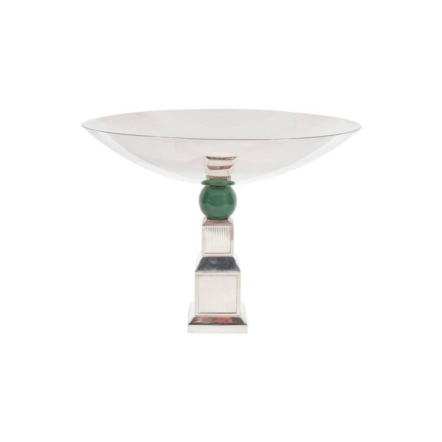 Mid-Century Modernist Art Deco Style Silver-Plated Bronze Tazza by Gucci - Image 6 of 10