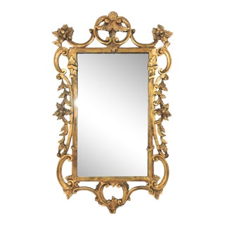 Mid 20th Century Antique Italian Gilt Wood Framed Gold Wall Mirror For Sale