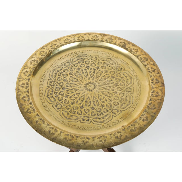 Islamic Polished Moroccan Brass Tray Side Table on Spider-Leg For Sale - Image 3 of 8