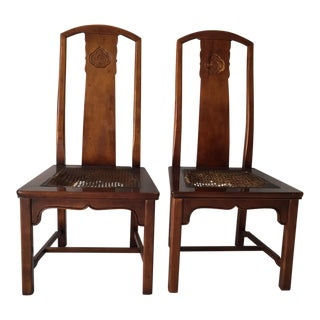 Henredon Asian Style High-Back Dining Chairs - a Pair