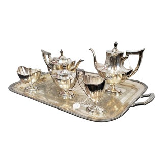 5 Pc Gorham Sterling Silver Plymouth Tea Set W/ s.p. Tray ~ 70.97Toz ~ C1915 For Sale