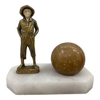 Gilded Spelter Figurine of a Young Boy Pen Holder Desk Set C.1920 For Sale