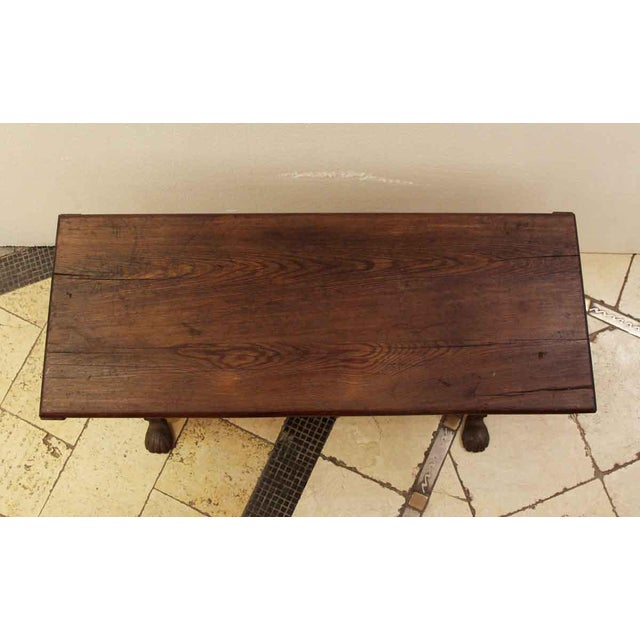 Traditional 20th Century Traditional Wooden Bench With Wrought Iron Legs For Sale - Image 3 of 7