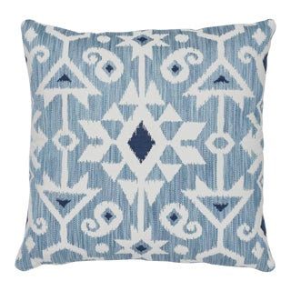 "Contemporary Schumacher Crusoe Ikat Sky Two-Sided Cotton Pillow - 20ʺW × 20""H For Sale"