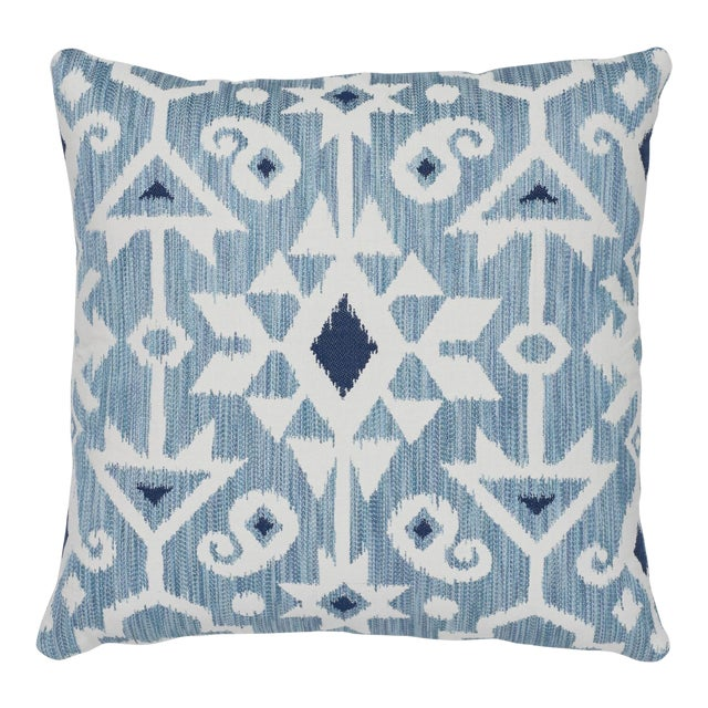 """Contemporary Schumacher Crusoe Ikat Sky Two-Sided Cotton Pillow - 20ʺW × 20""""H For Sale"""