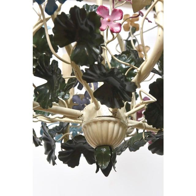 Multicolor Tole Flower Chandelier For Sale - Image 4 of 4