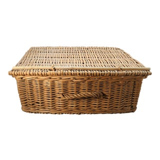 Vintage Mid-Century French Wicker Basket For Sale