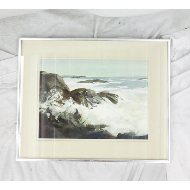 Vintage Framed Watercolor Seascape Painting - Image 3 of 8