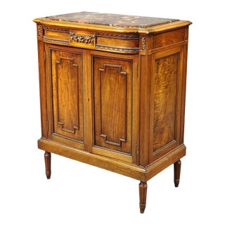 French Louis XVI Style Carved Walnut Marble Top Nightstand Cabinet For Sale