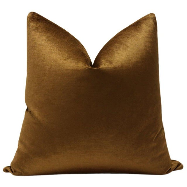 """Pair of luxurious 22"""" Luxe Velvet pillows in Cognac. Meticulously handcrafted with serged interior seams, invisible zipper..."""