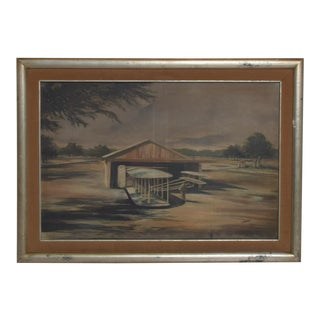 Mid Century Airplane Hangar Impressionist Oil on Canvas Modern Art Aviation For Sale