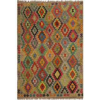 Laure Gray/Orange Hand-Woven Kilim Wool Rug -5'3 X 6'8 For Sale