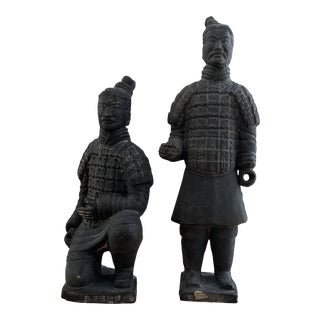 Pair of Small Chinese Terra-Cotta Warrior Statues For Sale