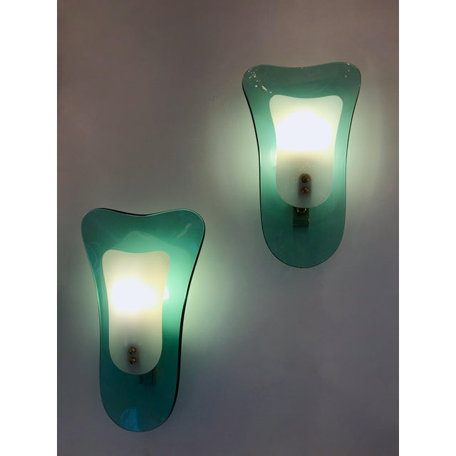 Curve Glass Opaline Brass Sconces by Cristal Art, Italy, 1960s - A Pair For Sale - Image 11 of 11