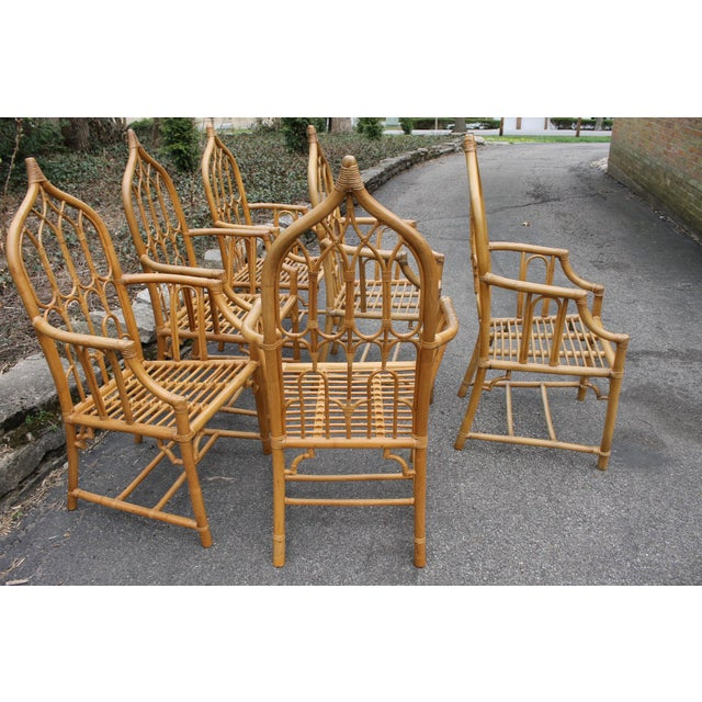 1970s McGuire Style Rattan Bamboo Gothic Cathedral Chairs All Arm Chairs - Set of 2 For Sale - Image 10 of 12
