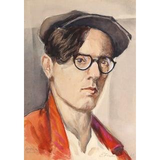 Erik Freyman, Self Portrait, Watercolor With Pastel For Sale