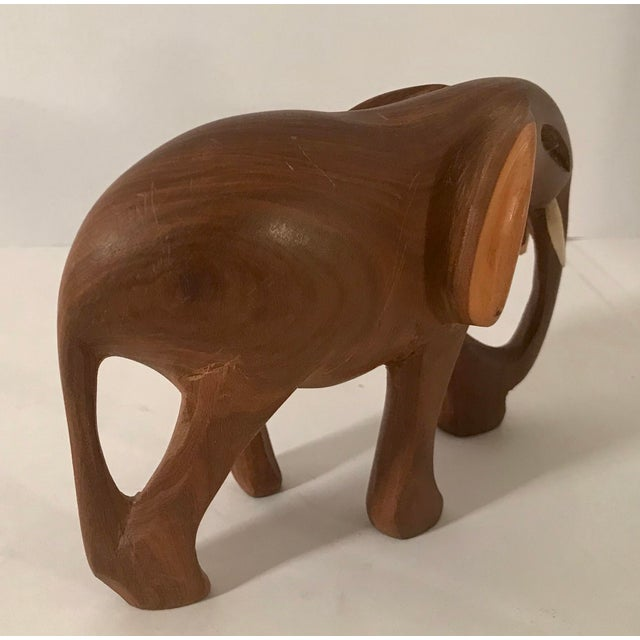 Late 20th Century Vintage Wooden Carved Elephant For Sale - Image 5 of 10