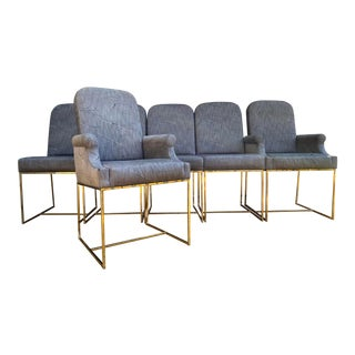 Milo Baughman for Thayer Coggin Brass Dining Chairs- Set of 6 For Sale