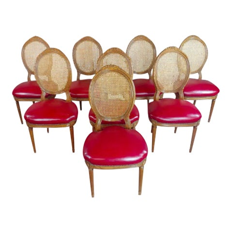 Louis XVI Seat Dining Chairs - Set of 8 For Sale