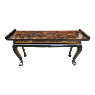 Chinoiserie Chic Asian Lacquered Altar / Console Table For Sale