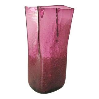 Blenko Amethyst Crackled Glass Vase For Sale