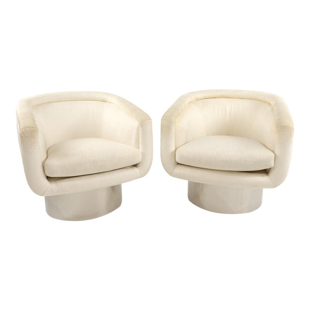 Mid Century Leon Rosen for Pace Swivel Barrel Lounge Chairs - a Pair For Sale