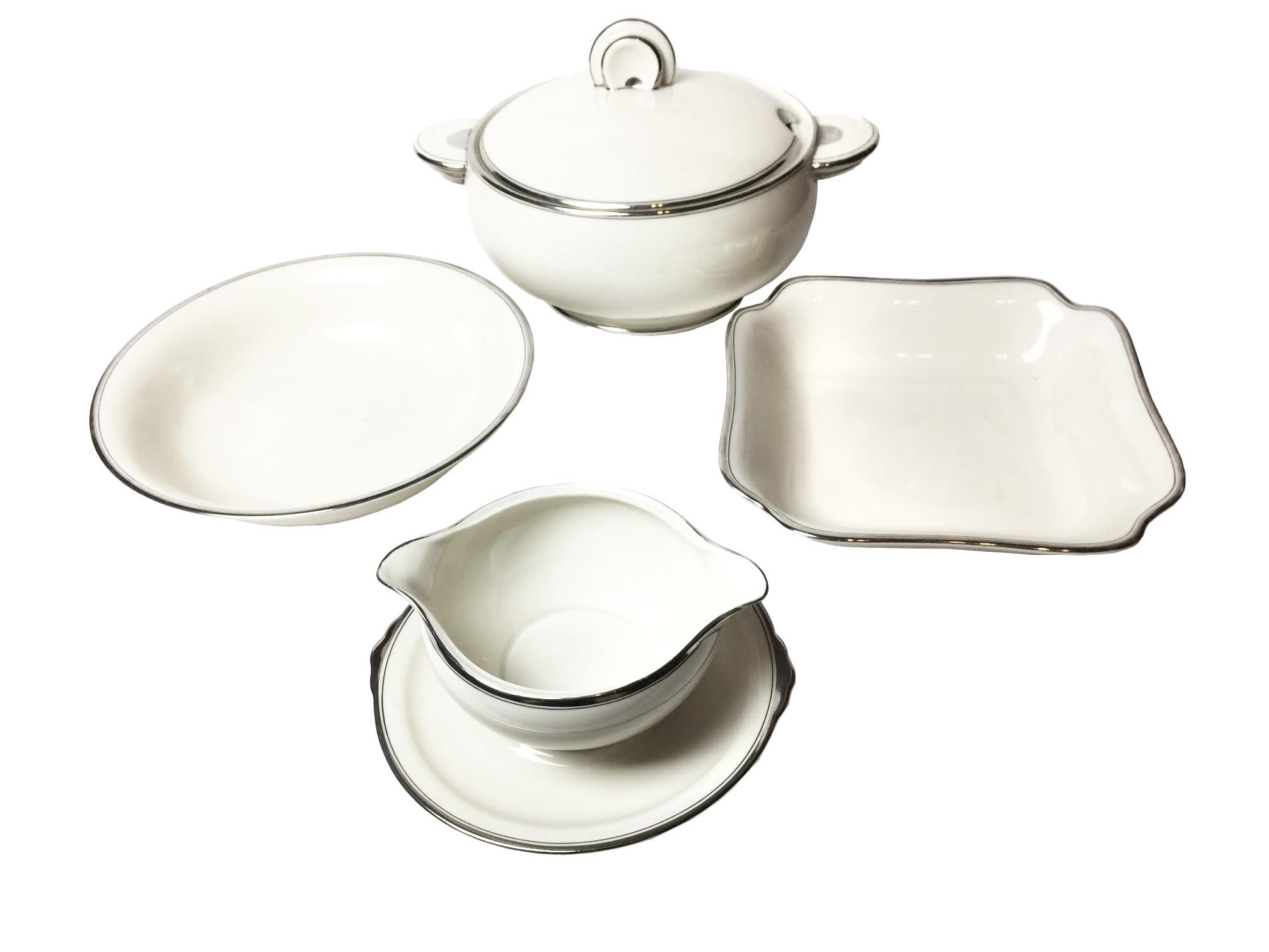 1920s Vintage Art Deco Style White \u0026 Silver Dinnerware Set - 22 Pieces - Image 2  sc 1 st  Chairish & 1920s Vintage Art Deco Style White \u0026 Silver Dinnerware Set - 22 ...