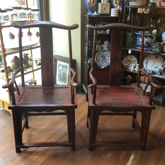 Red Empire Chairs- a Pair For Sale - Image 13 of 13