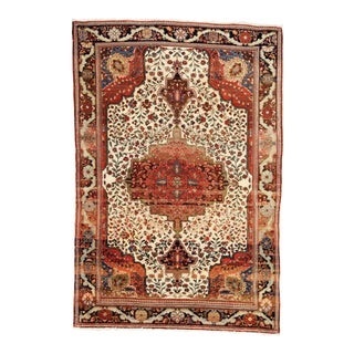 "Antique Persian Fereghan Sarouk Rug - 4'7"" X 6'10"" For Sale"
