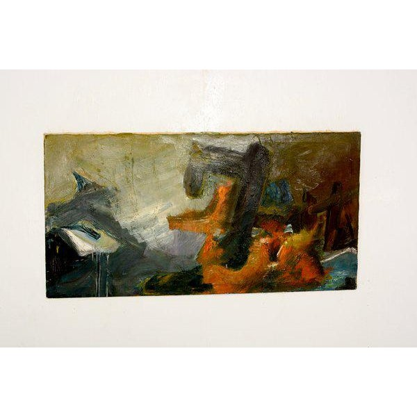 Abstract Unsigned Abstract Oil On Canvas Painting For Sale - Image 3 of 4