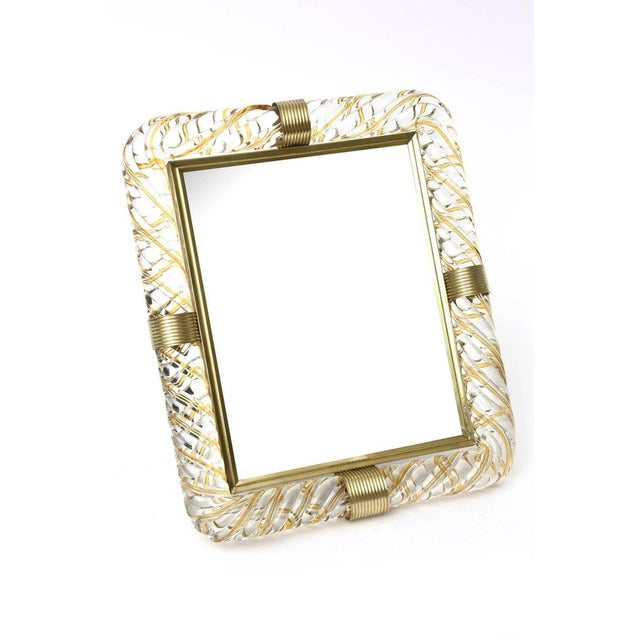 Italian Murano Vintage Glass and Brass Picture Frame For Sale - Image 10 of 11