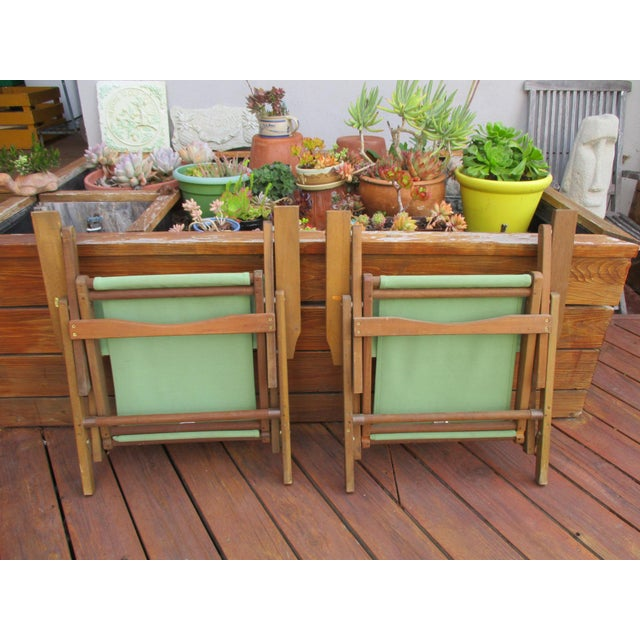 Boho Chic Vintage Teak Folding Canvas Chairs - A Pair For Sale - Image 3 of 10