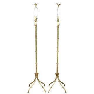 Pair of Gilt Metal Faux Bamboo Floor Lamps For Sale