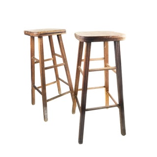 Mid-Century Modern Wooden Bar Stools - A Pair
