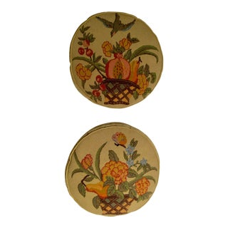 Vintage Round Needlepoint Pillows - a Pair For Sale